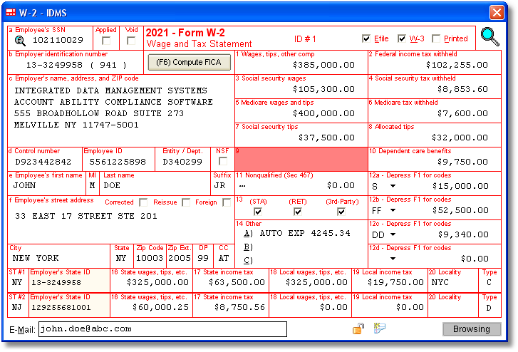 Account Ability's W-2 Software