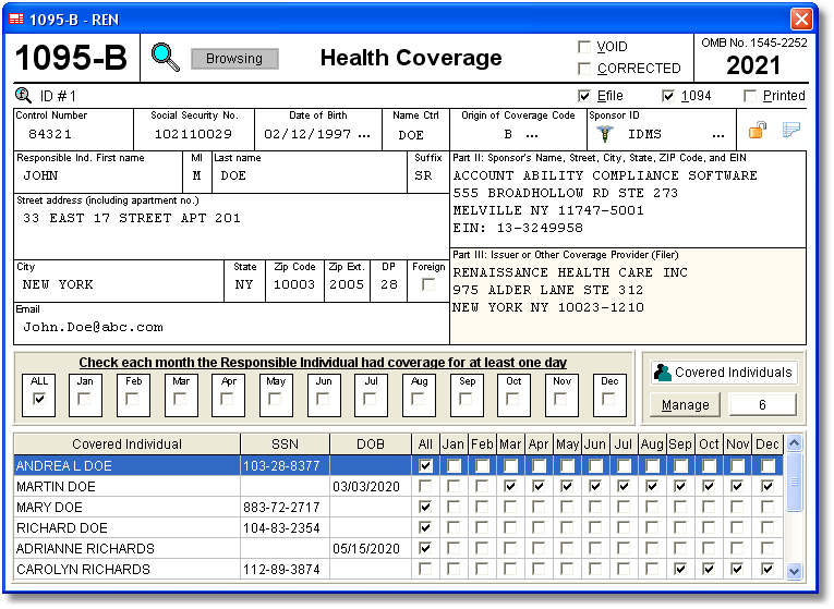 Account Ability's 1095-B, 1094-B ACA Software