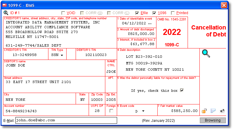Account Ability's 1099-C Software