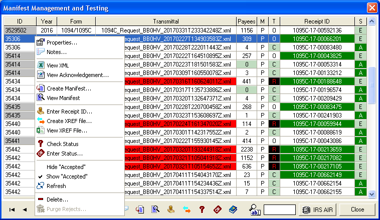 The Manifest Management and Testing module manages all of your client's 1095-B, 1094-C and 1095-C transmittals from a central window